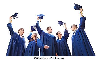 estudiantes, birretes, sonriente, grupo