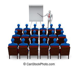 estudiantes, blanco, grupo, profesor, plano de fondo