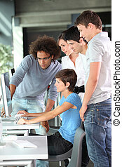 estudiantes, colegio, entrenamiento, grupo, empresa /...