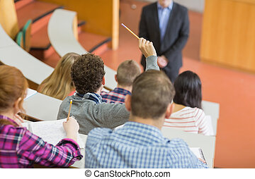 estudiantes, conferencia, colegio, vestíbulo, sentado