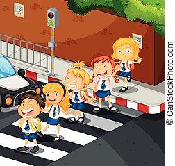 estudiantes, cruzar el camino