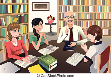 estudiantes, discusión, teniendo, su, profesor colegial