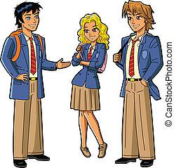 estudiantes, en, uniformes de la escuela