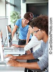 estudiantes, entrenamiento, grupo, empresa / negocio