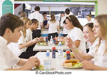 estudiantes, escuela secundaria, cafetería, comida