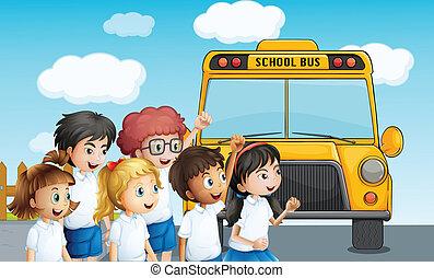 estudiantes, esperar, joven, schoolbus