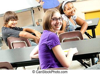 estudiantes, foto, escuela, feliz, acción