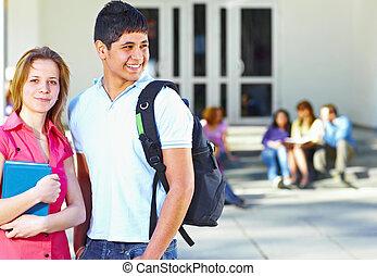 estudiantes, frente, grupo, dos