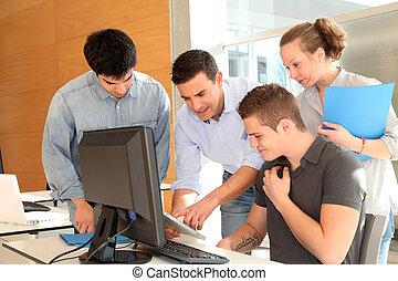 estudiantes, grupo, class profesor