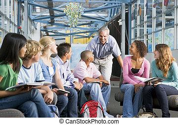 estudiantes, grupo de estudio, profesor