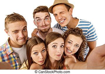 estudiantes, grupo, feliz