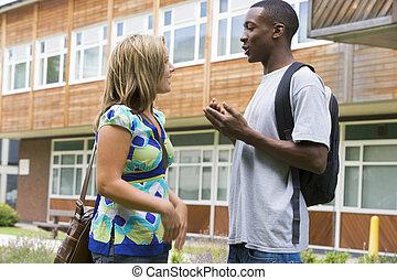 estudiantes, hablar, colegio, hembra, macho, campus