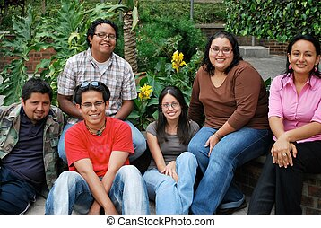estudiantes, hispano, grupo, atractivo