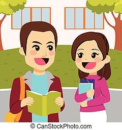 estudiantes, joven, campus