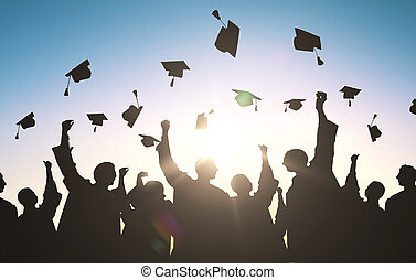 estudiantes, lanzamiento, siluetas, birretes