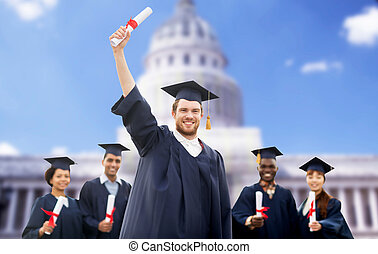 estudiantes, mortero, feliz, tablas,  diplomas
