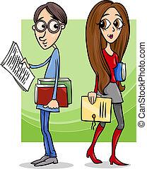 estudiantes, pareja, amor, caricatura