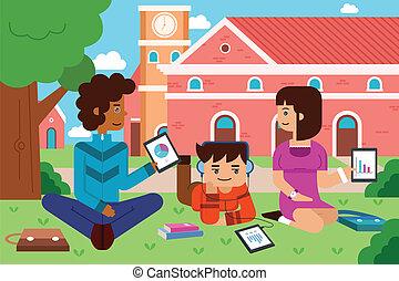 estudiantes, pc, campus de la universidad, tableta