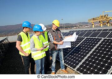 estudiantes, profesional, entrenamiento, grupo, ingeniería