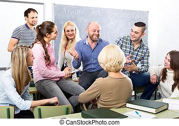estudiantes, profesor, charlar