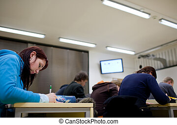 estudiantes, sentado, en, un, aula