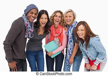 estudiantes, sonriente, fila, moderno