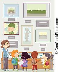 estudiantes, stickman, profesor, museo, monumento conmemorativo, niños