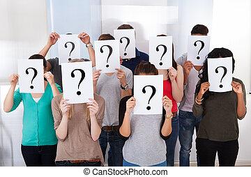 estudiantes, universidad, signo de interrogación, tenencia, ...