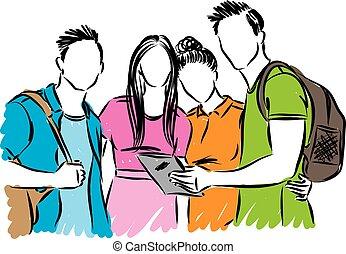 estudiantes, vector, grupo, adolescentes, ilustración