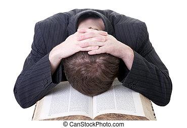 estudiar, frustración, tirred, estudiante, y, libro