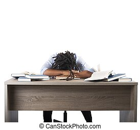 estudiar, hombre, cansado