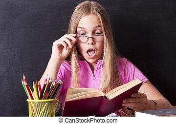 estudiar, muchacha de la escuela, tabla