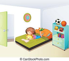 estudiar, niña, limpio, ella, dormitorio
