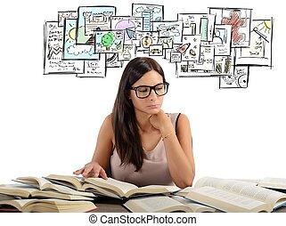 estudiar, niña, temas, académico