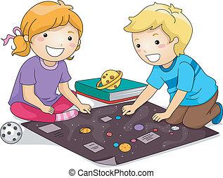 estudiar, niños, planetas
