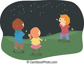 estudiar, niños, stickman, constelaciones