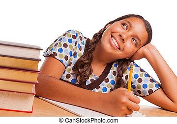 estudiar, soñar despierto, hispano, mientras, niña bonita, blanco