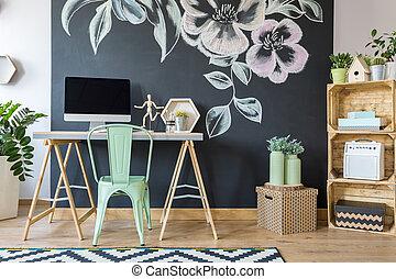 estudio casero, moderno, espacioso, oficina