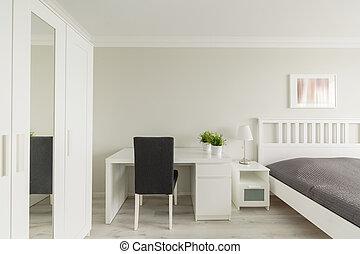 estudio, dormitorio, área