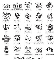 estudio, educación, conjunto, iconos