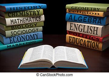 estudio, educación, libros, manzana