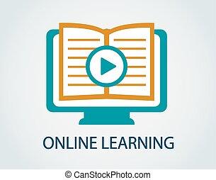 estudio, icono, en línea