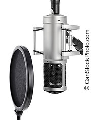 estudio, micrófono, con, taponazo, filtro