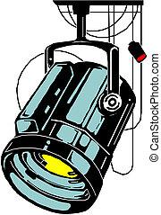 estudio, vector, lights., ilustración