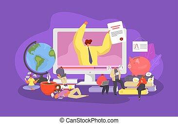 estudios, digital, en línea, entrenamiento, vector, ...
