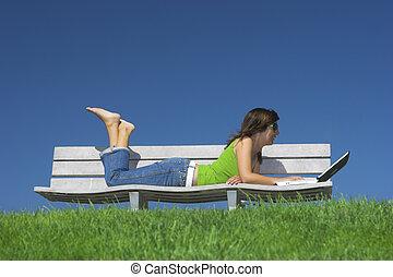estudo, ao ar livre