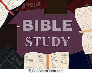 estudo, bíblia, livros, ilustração