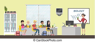 estudo, biologia, pequeno, crianças escola