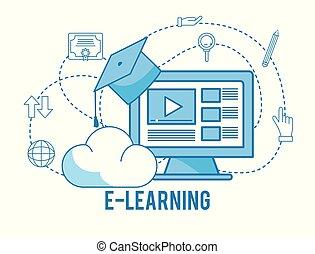 estudo, boné, tecnologia, graduação, computador