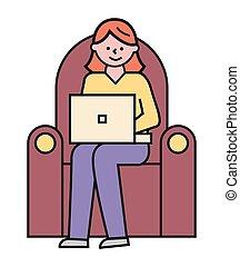 estudo, conforto, poltrona, mulher, trabalho, laptop, ou